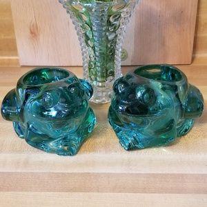 Indiana Glass Frog Candleholders